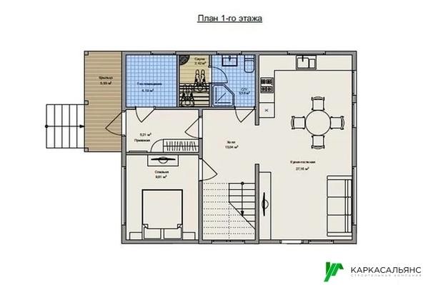Каркасный Дом под ключ 8х10 м проект Галифакс 3