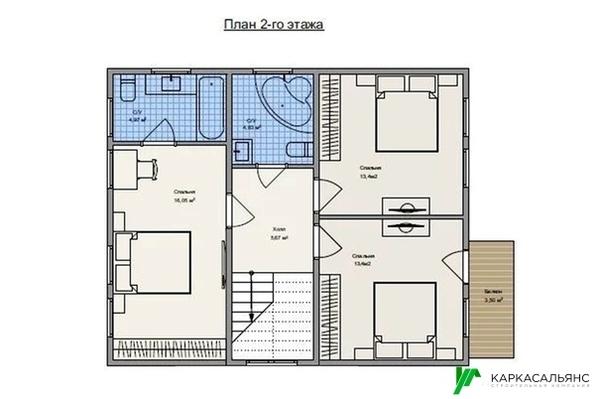 Каркасный Дом под ключ 8х10 м проект Галифакс 4